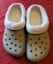 Crocs Classic Fleece Lined Clog Beige Tan Women 8 Men 6