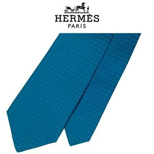Hermes Blue Tie -  2 Tone Blue Faconnee H Logo Silk French Necktie With Tag