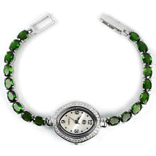 Sterling Silver 925 Genuine Natural Rich Green Chrome Diopside Watch 71/4 Inch