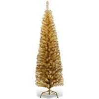 6FT Champagne Gold Tinsel Tree Unlit Slim Pencil Christmas Tree with Metal Stand