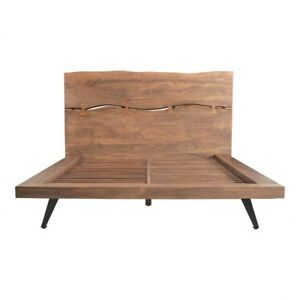 "89"" Queen Platform Bed One of a Kind Rustic Solid Acacia Wood Butterfly Joinery"