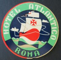 Ancienne étiquette valise HOTEL ATLANTIC ROMA Rome Italie old luggage label