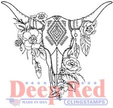 Deep Red Stamps Boho Longhorn Rubber Cling Stamp