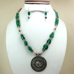 Pendant Necklace Earrings Natural Malachite Gemstone Handmade Beaded Jewelry