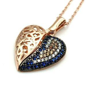 Women's Rose Gold 925 Sterling Silver Topaz Necklace HANDMADE Angel Wings Heart