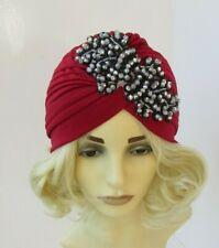 Burgundy Wine Red Black Grey Beaded Turban Headpiece 1920s Flapper Gatsby 7560