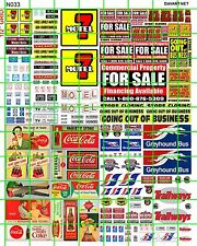 N033 N SCALE DAVE'S DECALS BUDGET MOTEL BUS DEPOT FOR SALE BUSINESS SODA SIGNS