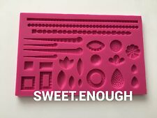 Large Pearl Wedding Silicone Mould corner Sugarcraft Cupcake Toppers frame
