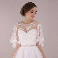 Lace Long Sleeves Bolero Shrug Jacket Stole Wedding Prom Party White Ivory shawl