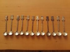 Vintage X12 Coat of Arms Crested Souvenir Collector Spoon Silver tone