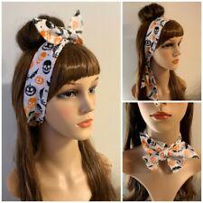 Halloween Hairband Headband Hair Tie Band Bow Pirate Skulls Crossbones Pumpkin