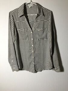 Express Womens The Portofino Shirt Buttoned Patterned Long Sleeve Size S White