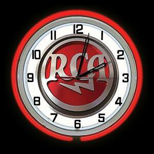 "19"" RCA Radio Vintage Look Sign Red Double Neon Clock Man Cave Garage Bar Shop"