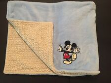 Disney Baby Blanket Mickey Mouse Baby Blue Velour Cream Sherpa 29 X 34