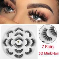 SKONHED 7 Pairs 5D Mink Hair False Eyelashes Extension Thick Long Wispy Lashes-