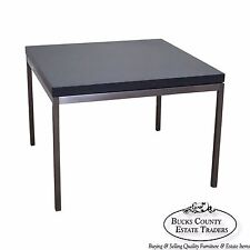 c65bf7ccb0235 Mid Century Modern Square Chrome Slate Top Side Table