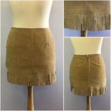 Modern Classics Ladies Beige Suede 70s Retro Fringe Boho Mini Skirt UK 14/16