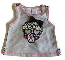ff47e640e24 Amy Coe Girls Newborn Sugar Skull Tank Shirt Gray