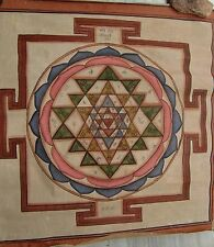 RARE HAND MADE PAINTED WATER COLOR PAINTING OF TANTRA CHAKRA ON CLOTH INDIAN ART