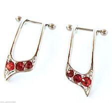 "Cartilage/Helix-PAIR-Ear Cuffs Red Gems 16 Gauge 1/4"" Steel Body Jewelry"