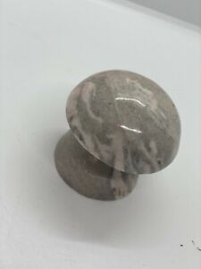 Vtg Mid Century Mod Hand Carved Mushroom Paperweight Pink Tone