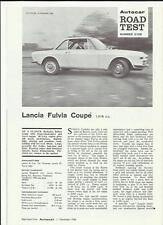 LANCIA FULVIA COUPE ROAD TEST 'SALES BROCHURE' NOVEMBER 1966 ENGLISH LANGUAGE