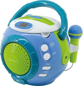 Tragbarer Soundmaster KCD1600 Kinder-CD-Spieler Mikrofon Karaoke 2 Mikrofonen Si