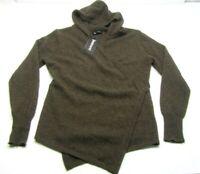 New Betabrand Womans Brown Black Sheep Wool Alpaca Wrap Sweater Sz L/XL Hooded