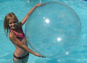 """48"""" CRYSTAL CLEAR Inflatable Beach Ball - Glossy Vinyl Pool / Wedding Party Toy"""