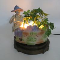 Vintage Ceramic with Brass Base Gardener TV Accent Lamp Planter