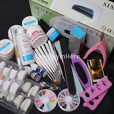 Pro Nail Art UV Gel Kit UV lamp Brush Buffer Tool Nail Tips Glue Acrylic Kit Set