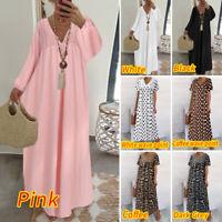 UK Women Lace V Neck Short Sleeve Ladies Holiday Maxi Kaftan Dress Plus Lot Size