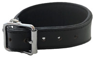 HAND MADE BLACK PADDED LEATHER LURCHER GREYHOUND DOG COLLAR SOFT
