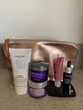 Lancome 7 piece Makeup Gift Set Travel Size Rose Gold Cosmetic Bag W/Samples New