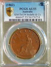 Australia 1 Penny 1820 (1862) Penny PCGS AU55 Tn# 134 Iredale & Co Token Coin!