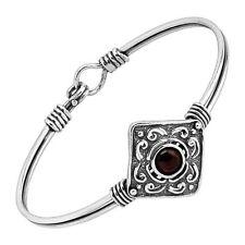 "Silpada 'costa Del Sol' Natural Garnet Diamond Face Bangle Bracelet Silver 7"""