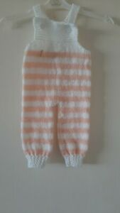 0-3 mths  hand knitted dungarees Reduced