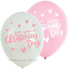 6 Boy / Girl On Your Christening Day Helium/Air Latex Balloons Party Decorations