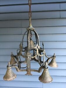 6 light Antique GOTHIC / ART DECO Hammered Cast Metal CHANDELIER - Brass ?