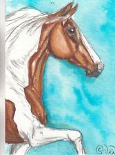 ACEO original Watercolor Art Card Horse chestnut Tobiano Pinto ASB/NSHA mare