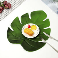 FP- 1PC Artificial Monstera Leaf Kitchen Placemat Mat Bowl Anti-Slip Pad Party D
