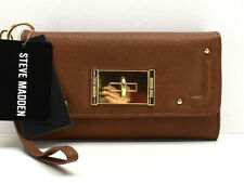 Steve Madden Cell Phone Trifold W/ Turnlock Wristlet Wallet Clutch Cognac New!