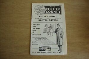1957/8 Notts County v Bristol Rovers - League Division 2 + Compliments Slip