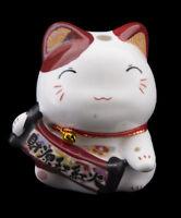 Salvadanaio Gatto Giapponese 8cm Bianco Marrone Ceramica Made IN Maneki Neko 83