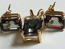 10k Yellow Gold Emerald Cut Mystic Topaz Pendant Stud Earrings Combo Set 2.3Gram