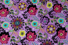 Quality 100% Cotton Fabric (Funky Floral Pattern on Purple Background) — ½ M