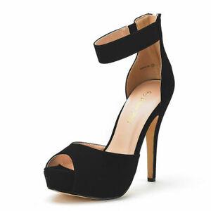 Women's Ankle Strap Back Zipper High Heel Sandals Platform Pump Dress Shoes