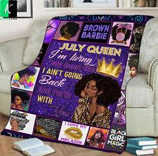 July Queen Fleece Blanket Gift For Black Girl Birthday July