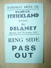 BOXE RING SIDE svenire 1937-Strickland V DELANEY a harringay ARENA, 29 Nov