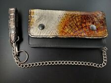 NEW ALLIGATOR SKIN BIKER Trucker LARGE WALLET with Chain inside zipper GATOR